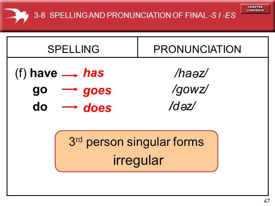 3rd person singular forms