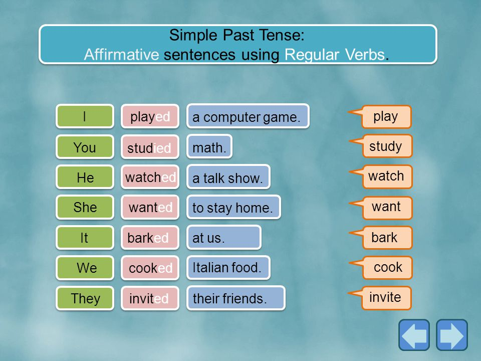 Simple Past Tense: Affirmative sentences using Regular Verbs.
