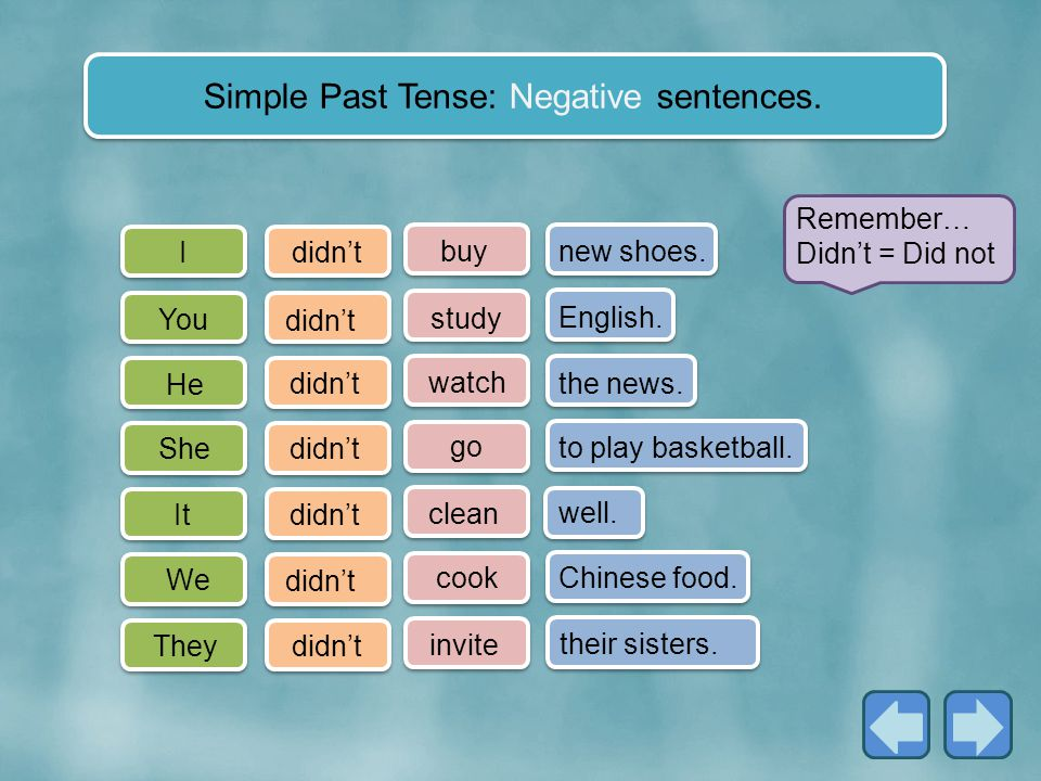Simple Past Tense: Negative sentences.
