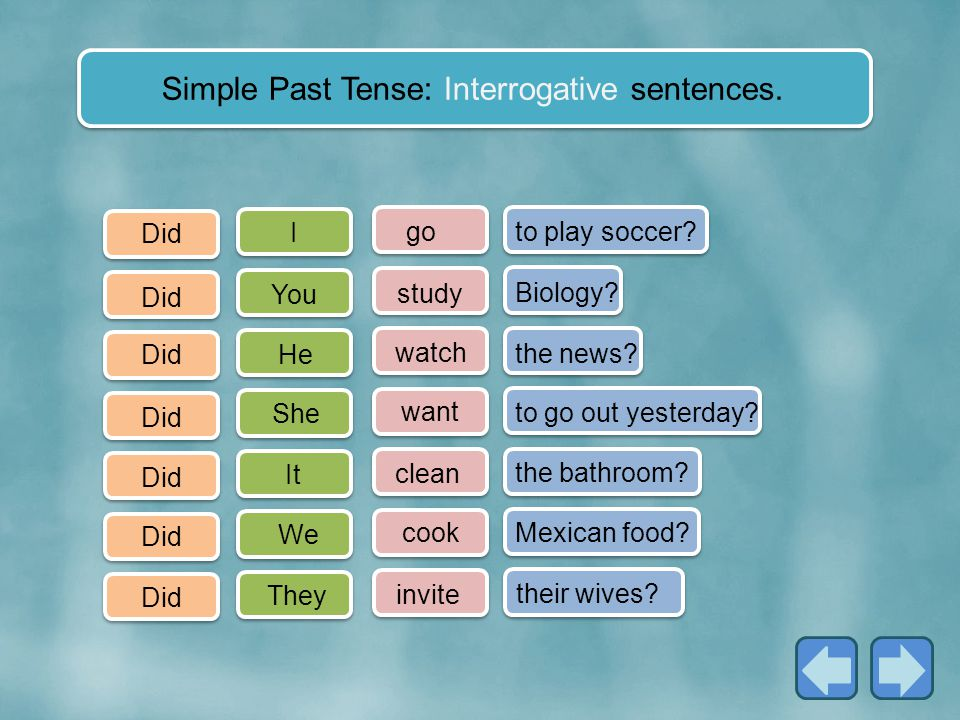 Simple Past Tense: Interrogative sentences.