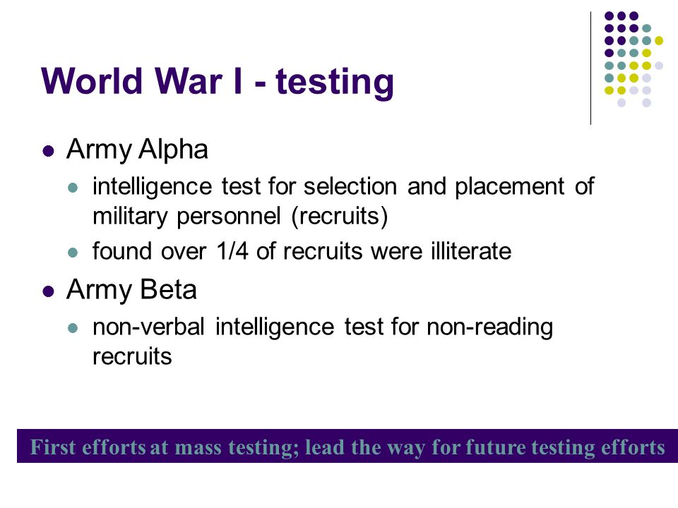 First efforts at mass testing; lead the way for future testing efforts
