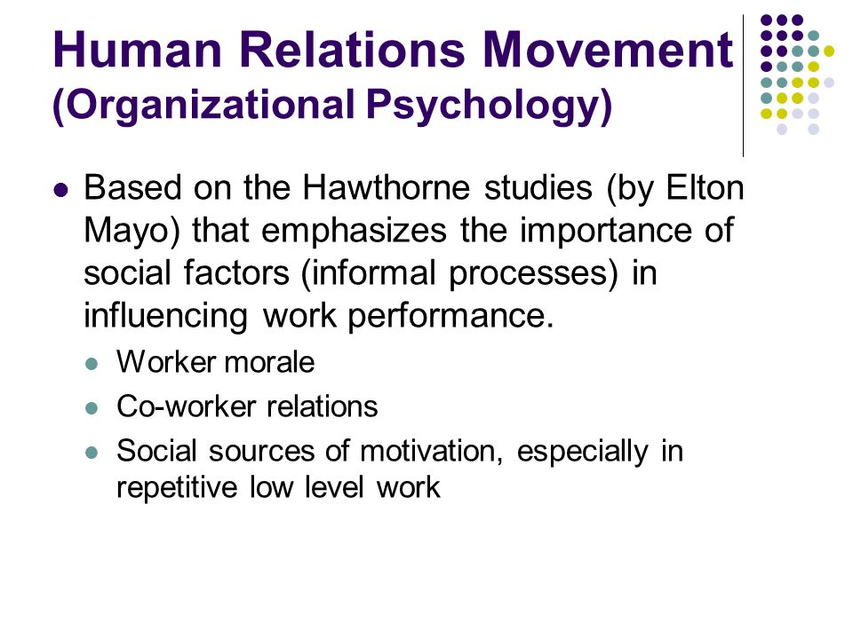 Human Relations Movement (Organizational Psychology)