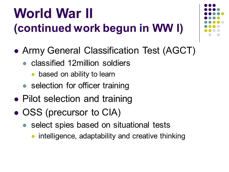 World War II (continued work begun in WW I)