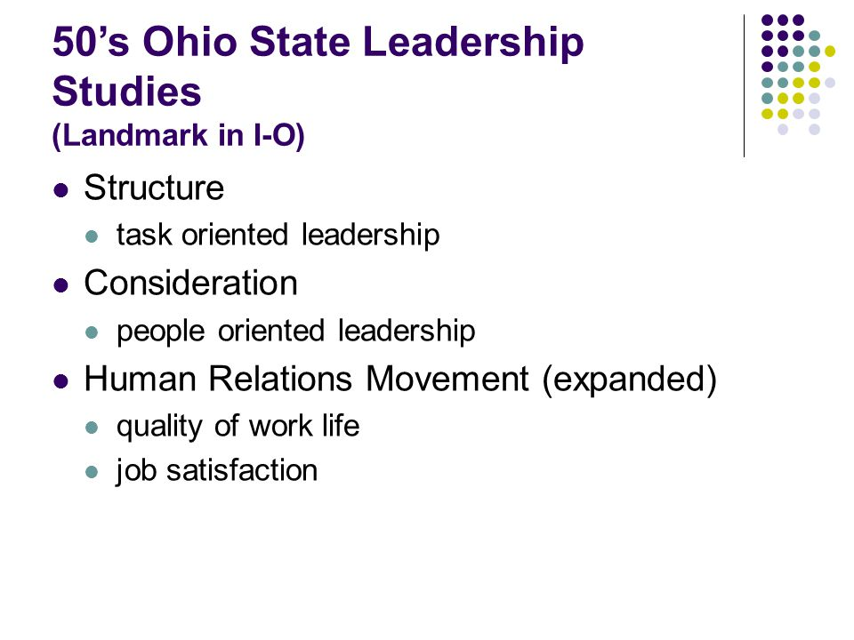 50's Ohio State Leadership Studies (Landmark in I-O)