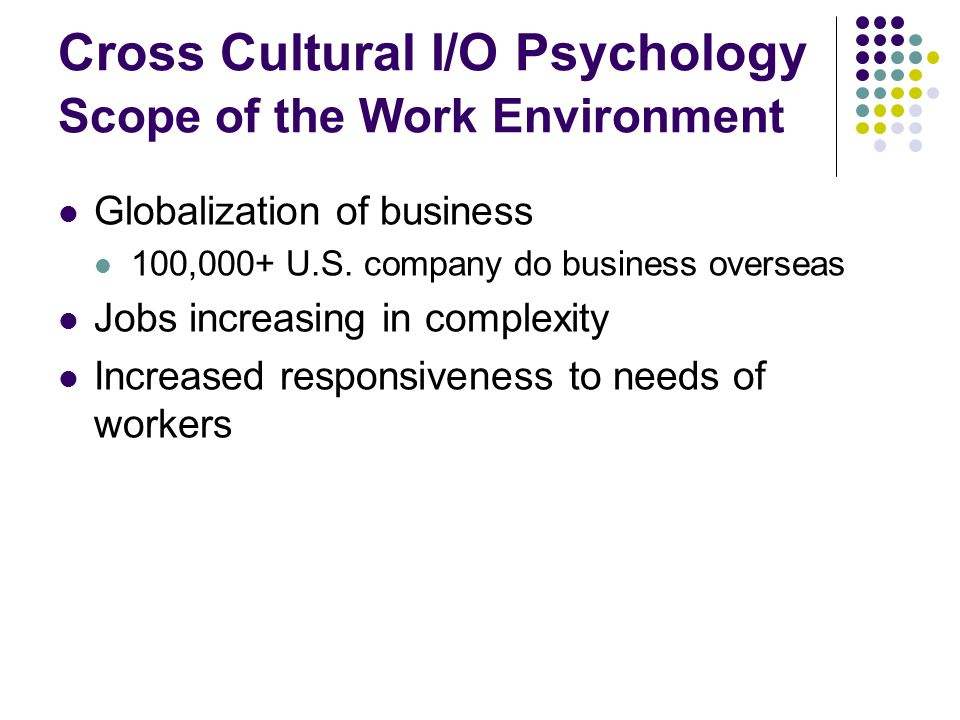 Cross Cultural I/O Psychology Scope of the Work Environment