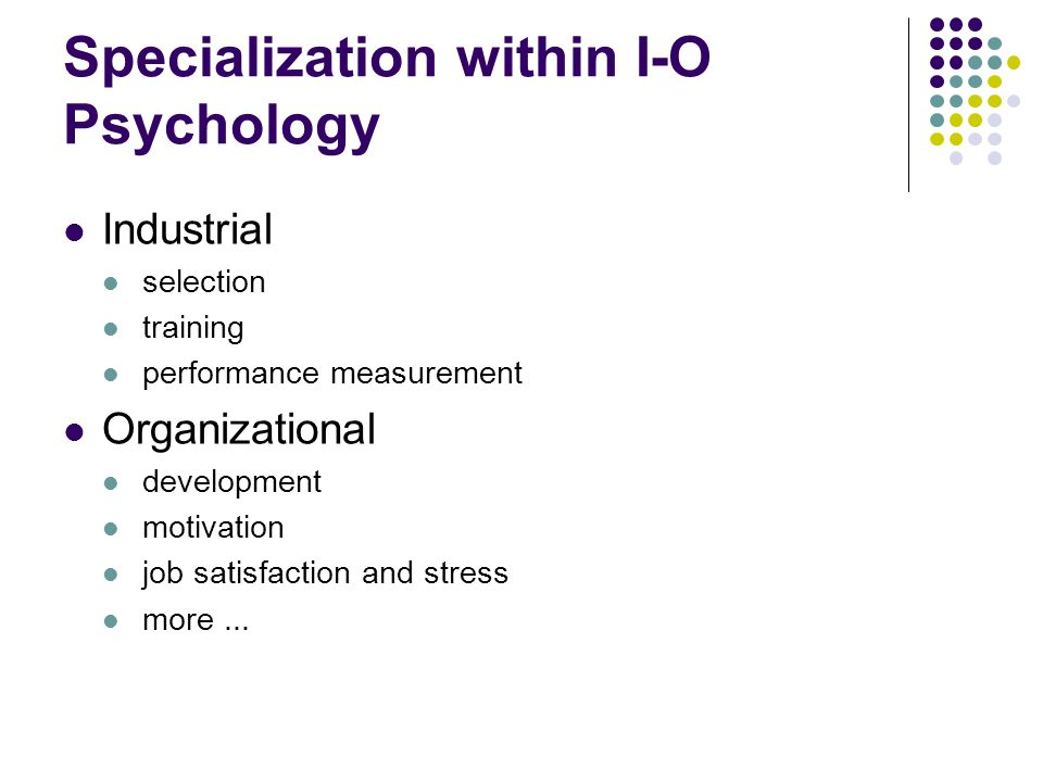 Specialization within I-O Psychology