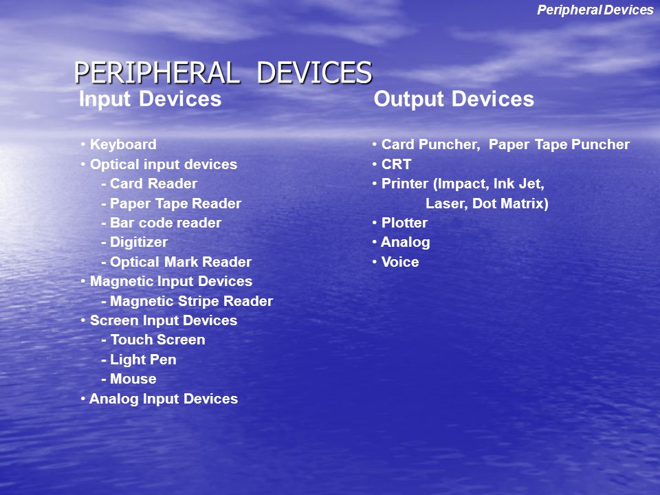 PERIPHERAL DEVICES Input Devices Output Devices Keyboard