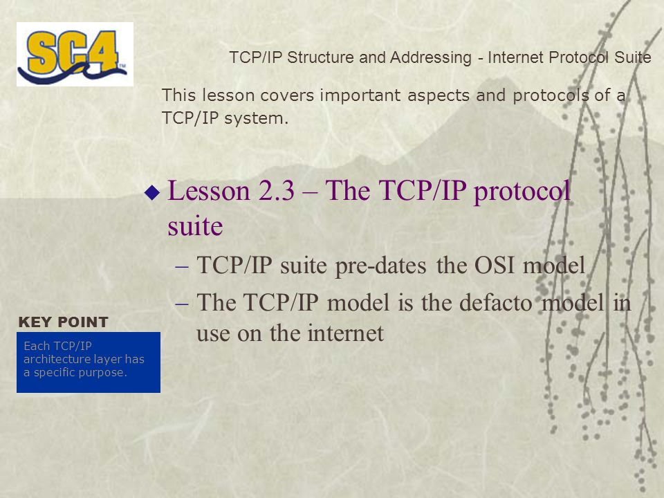 Lesson 2.3 – The TCP/IP protocol suite