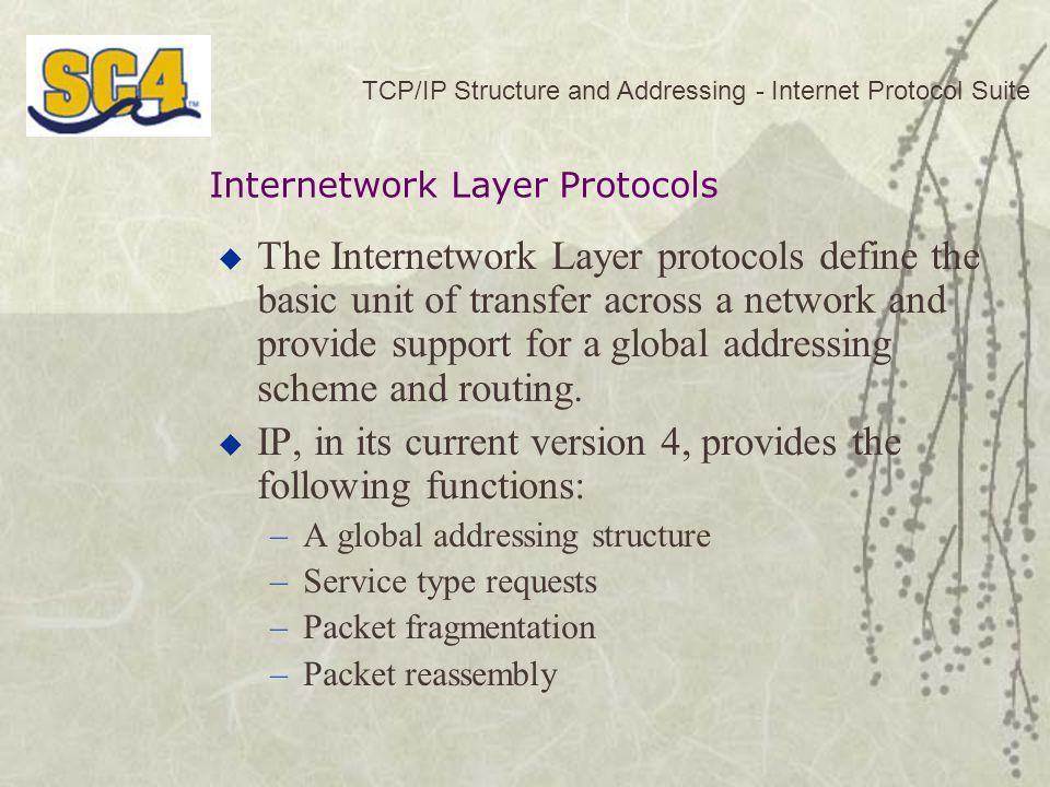 IP, in its current version 4, provides the following functions: