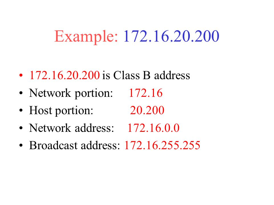 Example: is Class B address