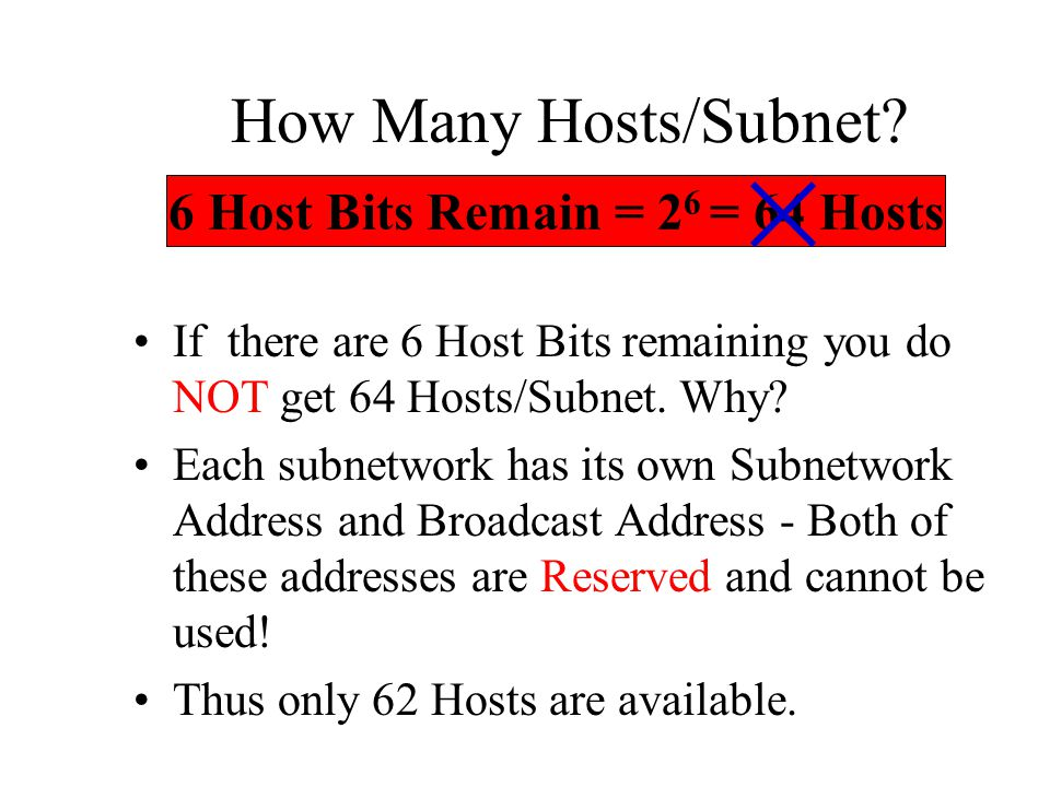 6 Host Bits Remain = 26 = 64 Hosts