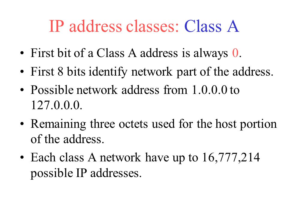 IP address classes: Class A