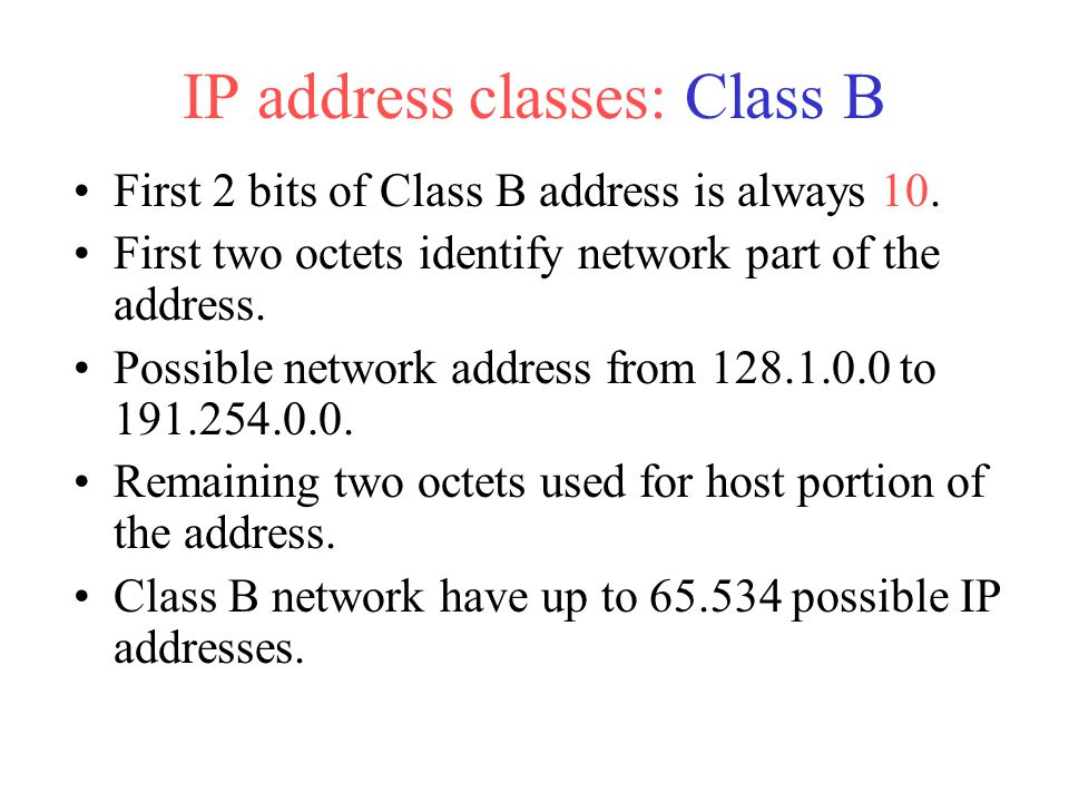 IP address classes: Class B