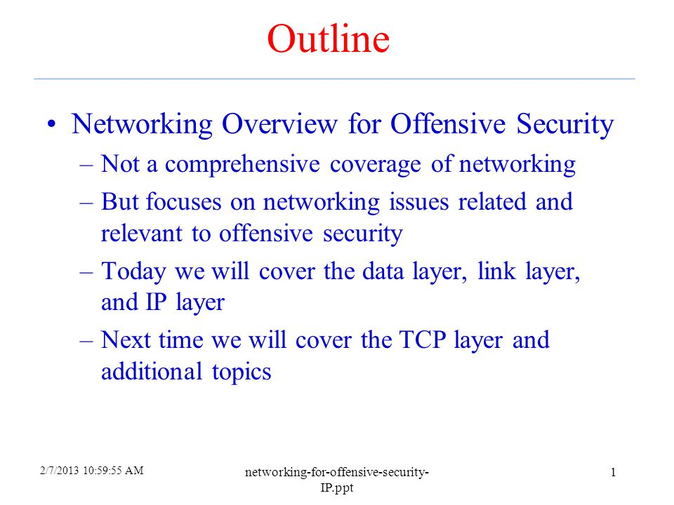 Outline Networking Overview for Offensive Security