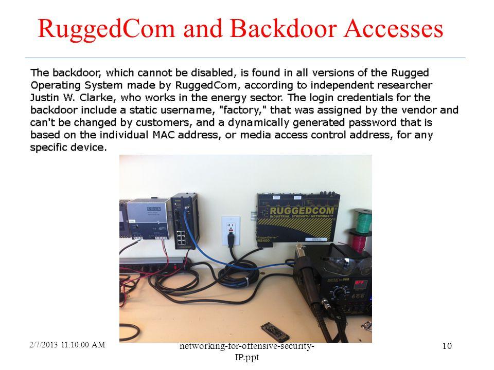 RuggedCom and Backdoor Accesses