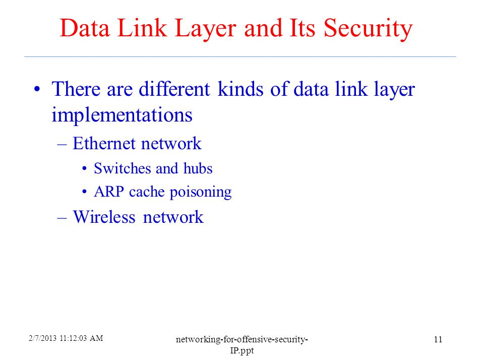 Data Link Layer and Its Security