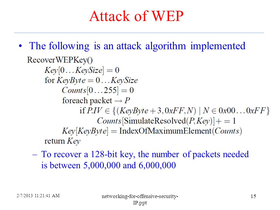 Attack of WEP The following is an attack algorithm implemented