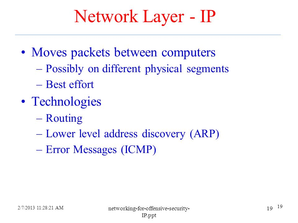 Network Layer - IP Moves packets between computers Technologies
