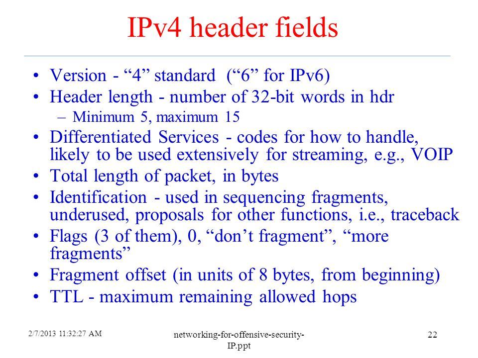 IPv4 header fields Version - 4 standard ( 6 for IPv6)