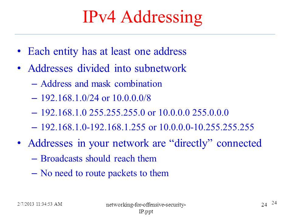 IPv4 Addressing Each entity has at least one address