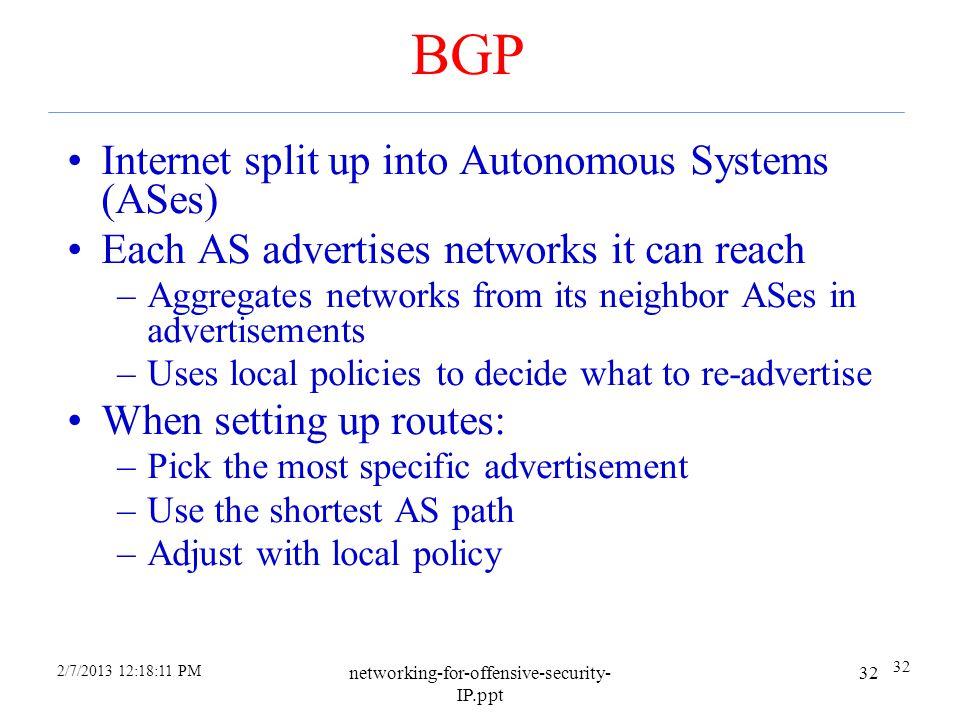BGP Internet split up into Autonomous Systems (ASes)