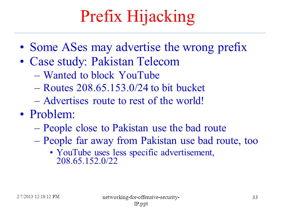 Prefix Hijacking Some ASes may advertise the wrong prefix