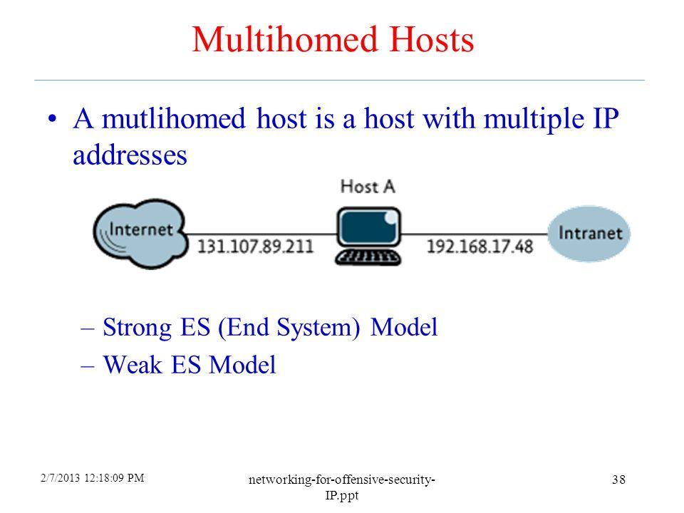 4/6/2017 Multihomed Hosts. A mutlihomed host is a host with multiple IP addresses. Strong ES (End System) Model.