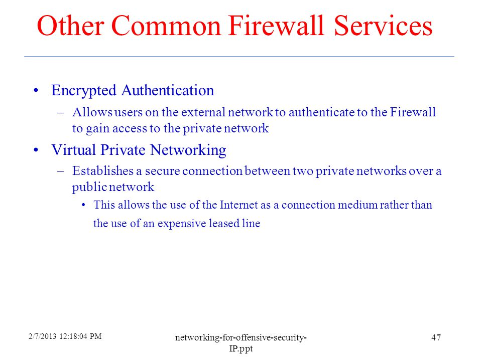 Other Common Firewall Services
