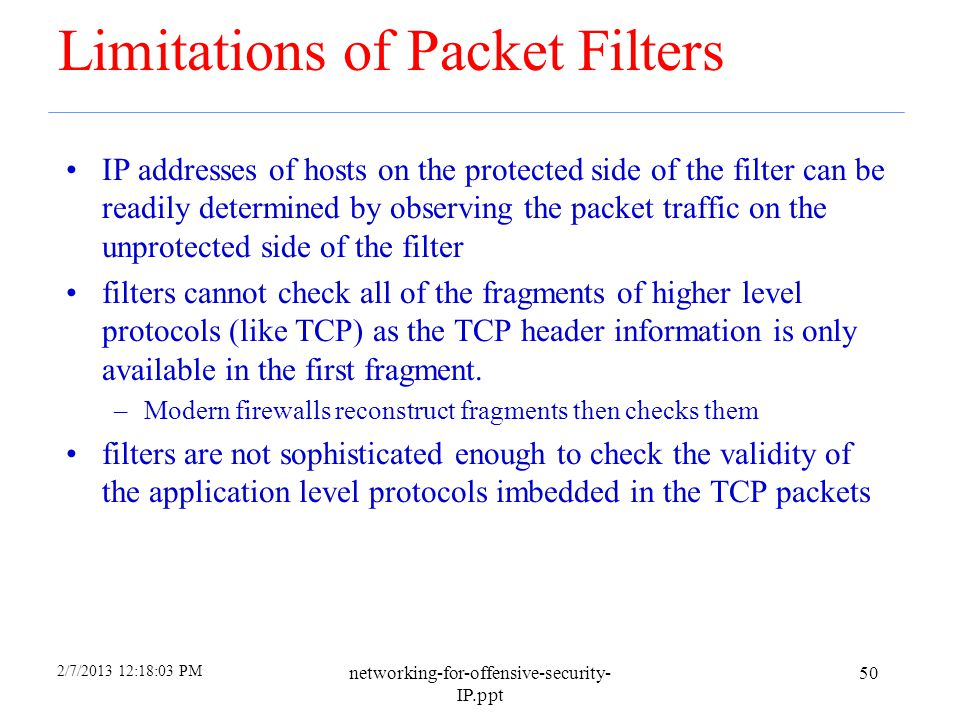 Limitations of Packet Filters