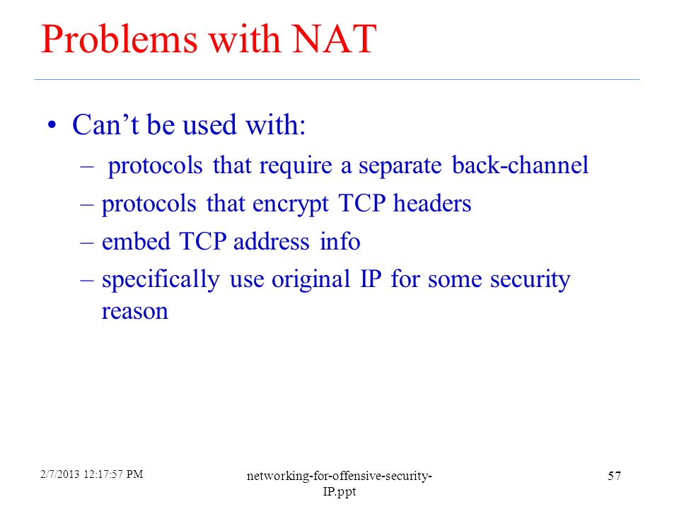 Problems with NAT Can't be used with: