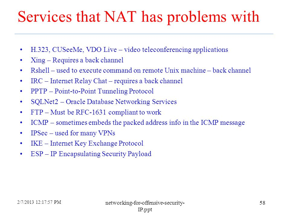 Services that NAT has problems with