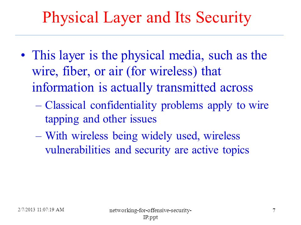Physical Layer and Its Security
