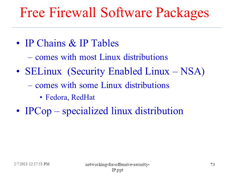 Free Firewall Software Packages