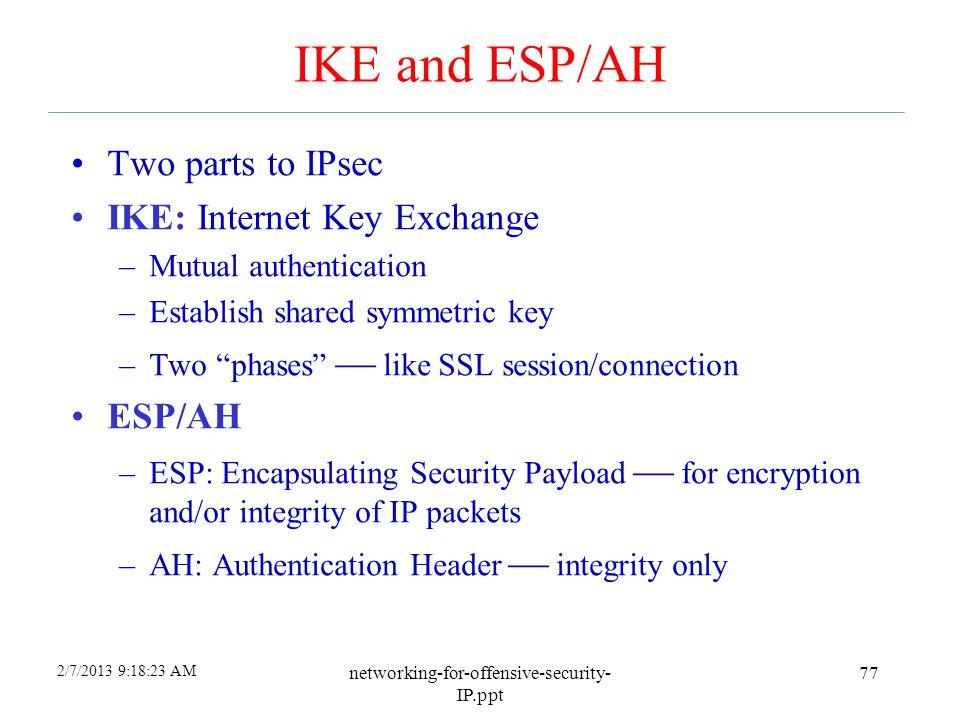 IKE and ESP/AH Two parts to IPsec IKE: Internet Key Exchange ESP/AH