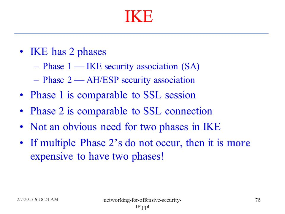IKE IKE has 2 phases Phase 1 is comparable to SSL session