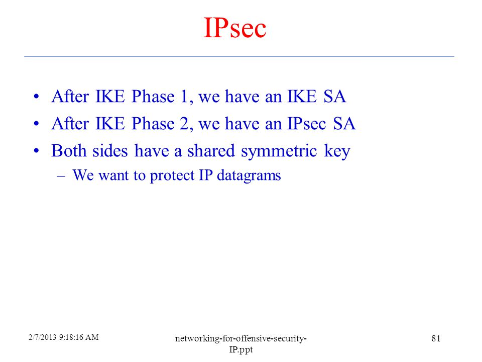 IPsec After IKE Phase 1, we have an IKE SA