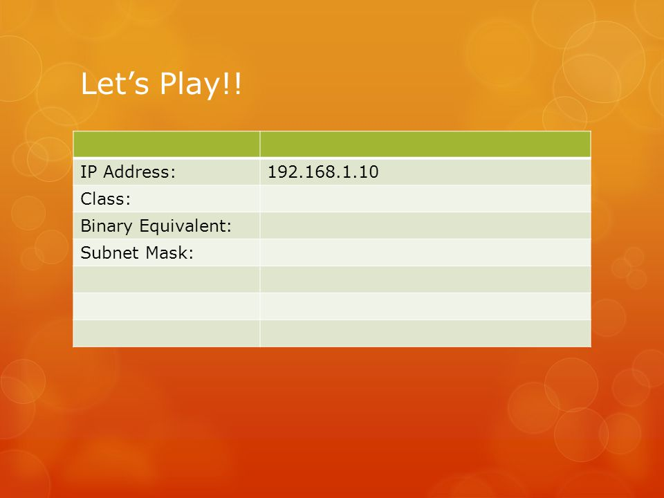 Let's Play!! IP Address: 192.168.1.10 Class: Binary Equivalent: