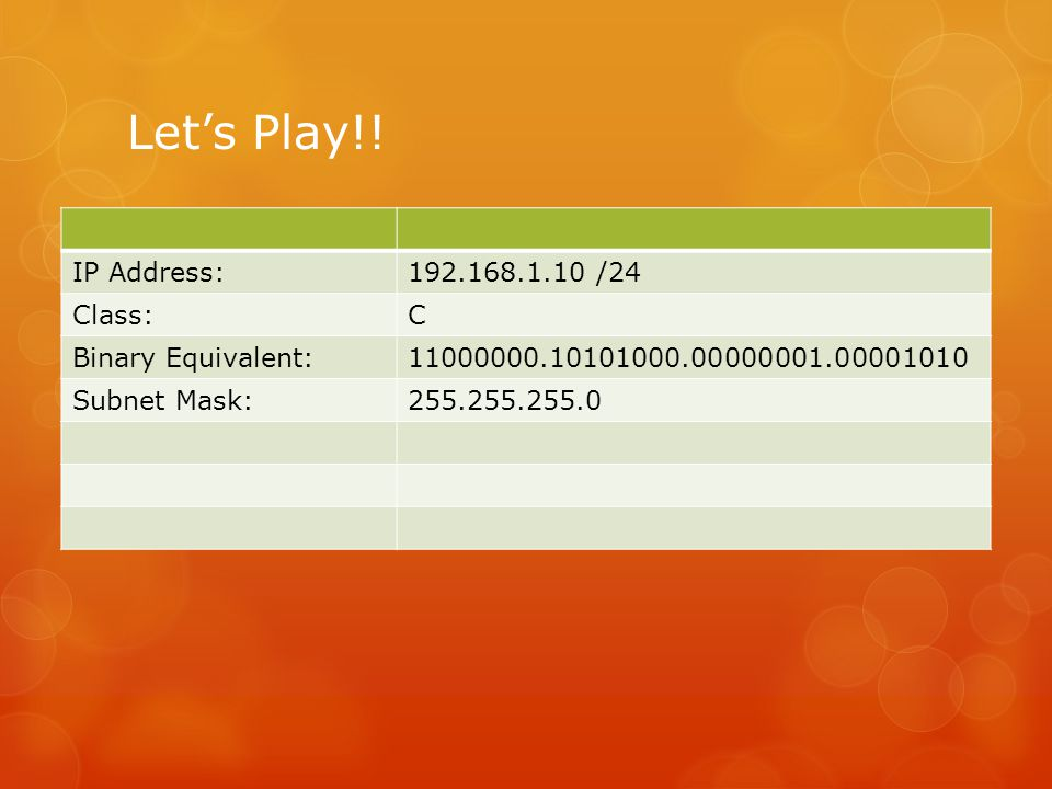 Let's Play!! IP Address: 192.168.1.10 /24 Class: C Binary Equivalent: