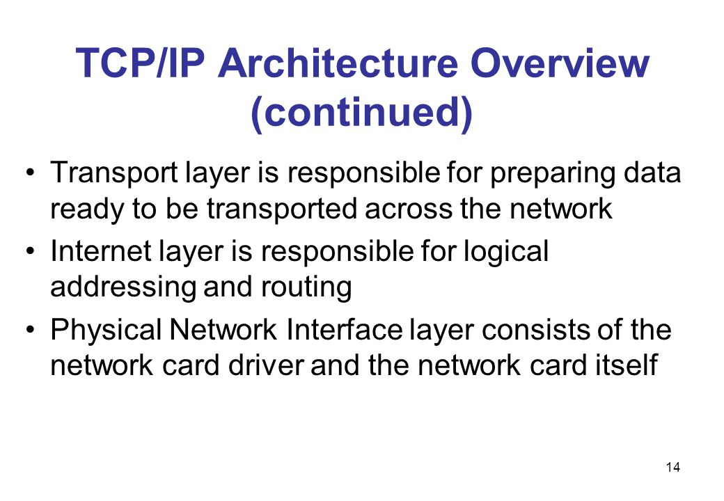 TCP/IP Architecture Overview (continued)