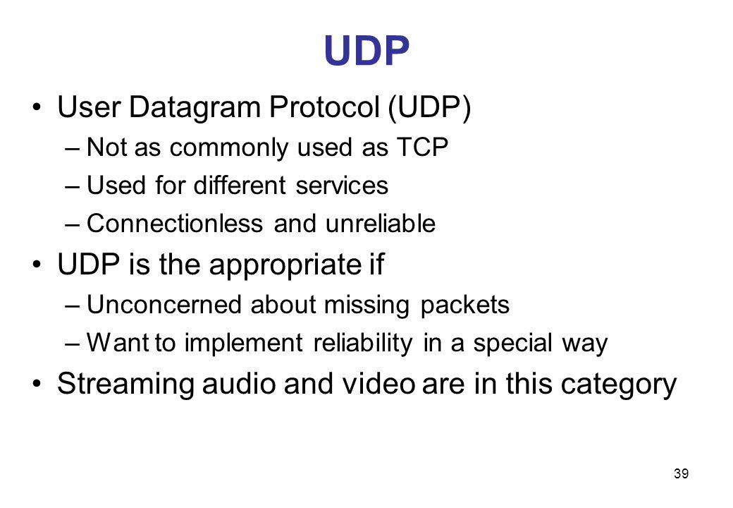 UDP User Datagram Protocol (UDP) UDP is the appropriate if