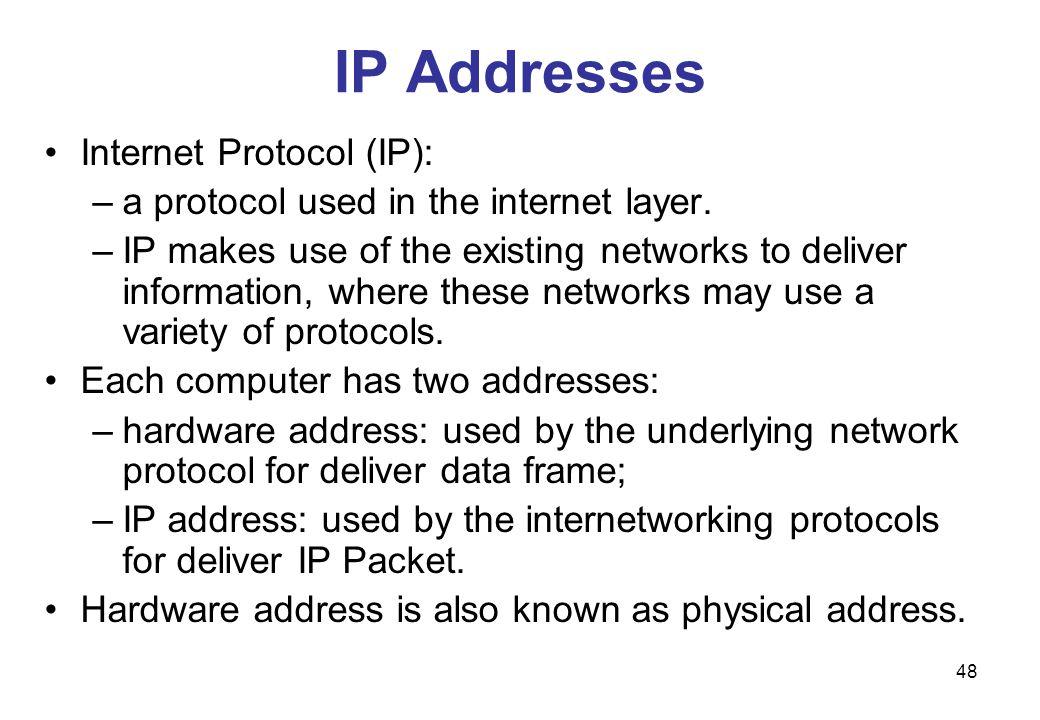 IP Addresses Internet Protocol (IP):