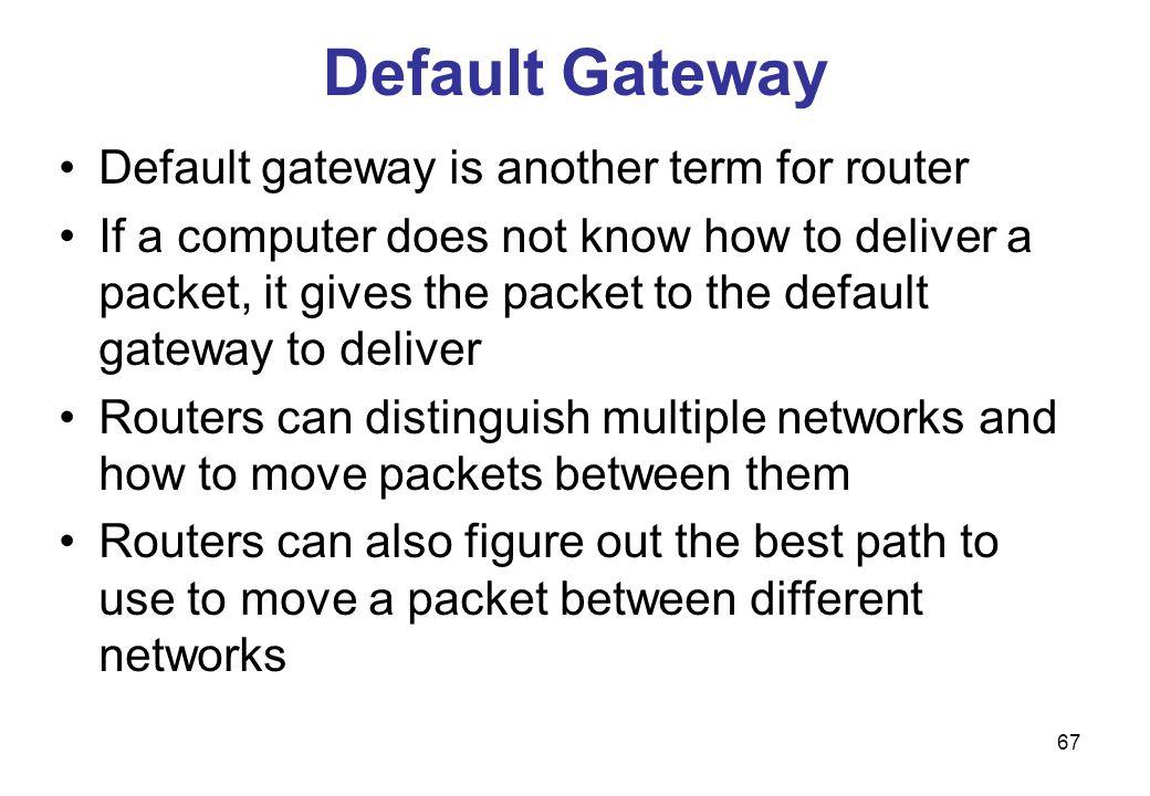 Default Gateway Default gateway is another term for router