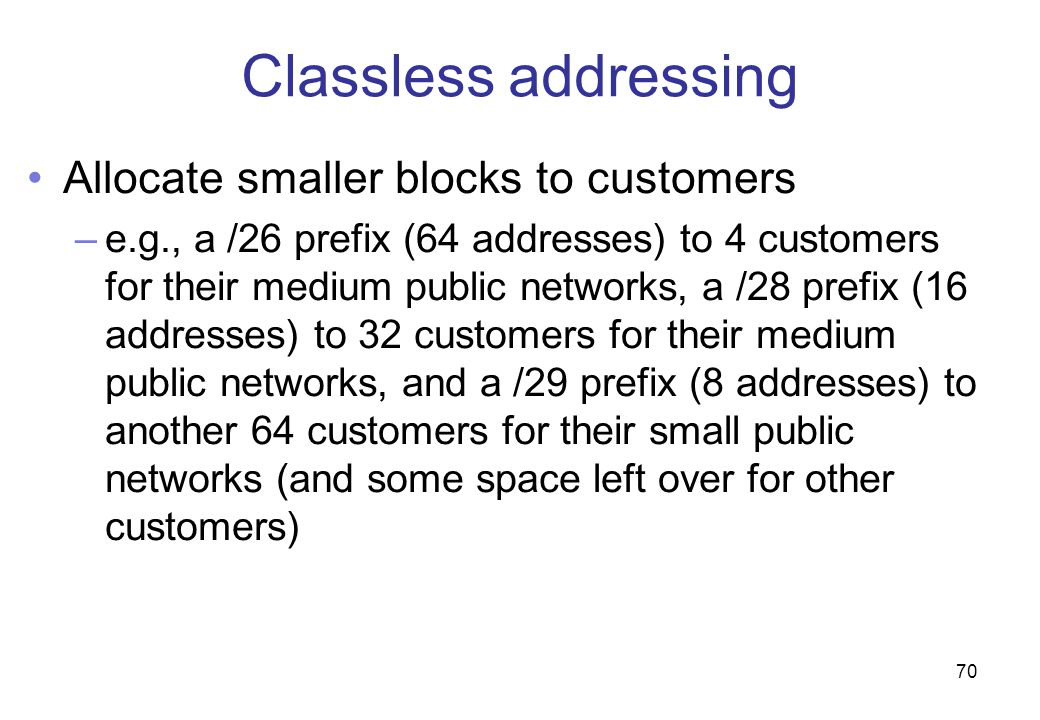 Classless addressing Allocate smaller blocks to customers