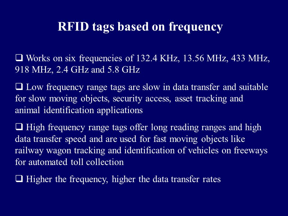 RFID tags based on frequency