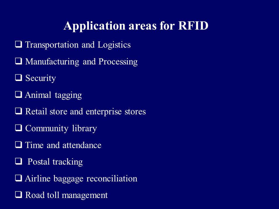Application areas for RFID