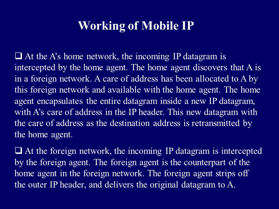 Working of Mobile IP