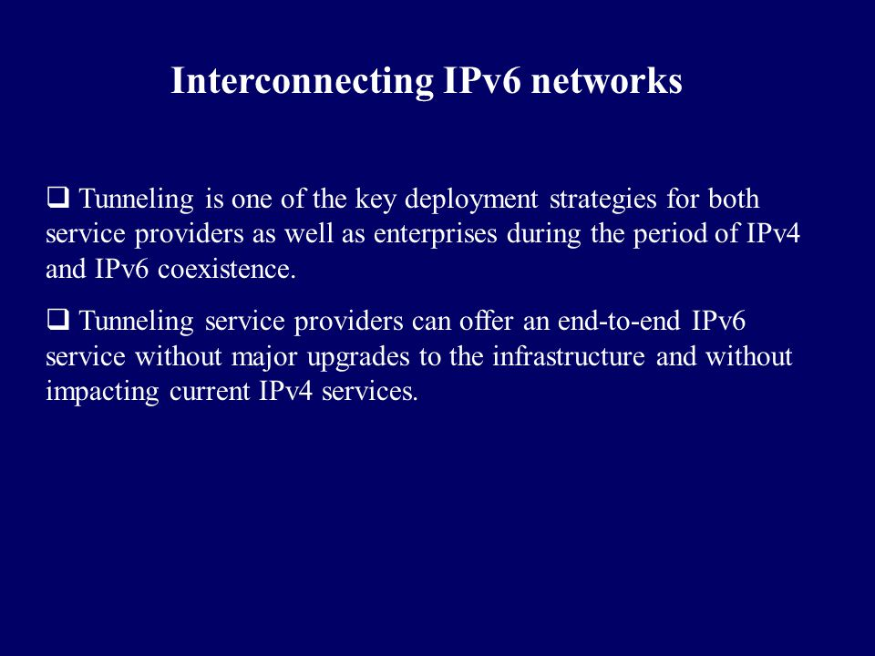 Interconnecting IPv6 networks