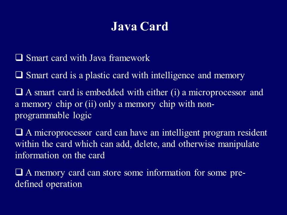 Java Card Smart card with Java framework