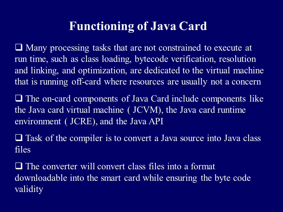 Functioning of Java Card