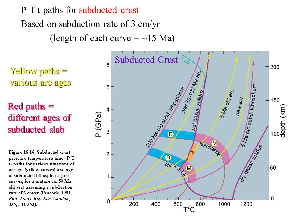 P-T-t paths for subducted crust Based on subduction rate of 3 cm/yr